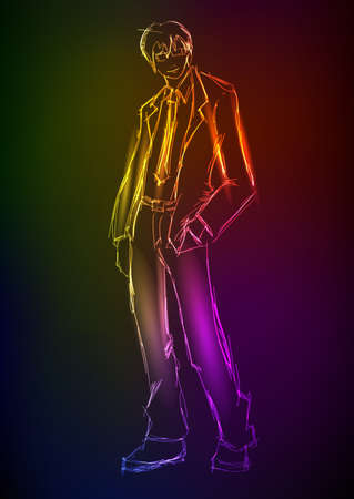 stylish man: Sketch. Handsome stylish man. Hand-drawn fashion model from a neon. A light man Illustration