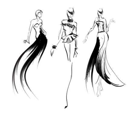 スケッチ。ファッションの女の子