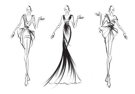 mannequin: CROQUIS. filles de mode Illustration