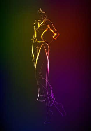 high fashion model: Hand-drawn fashion model from a neon. A light girls Illustration