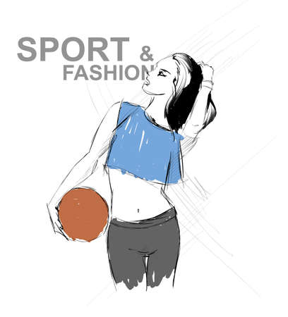 bare waist: art background with beautiful young fitness woman in profile, sketch vector