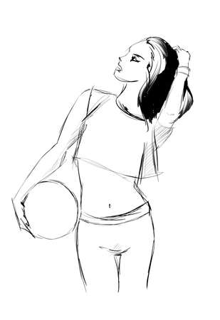 cellulite: art background with beautiful young fitness woman in profile, sketch vector