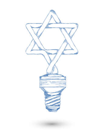 Sketch. Fluorescent lamp in the form of a Star of David Illustration