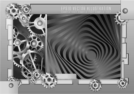 alloy wheel: Abstract background metallic chrome silver with gears, vector.