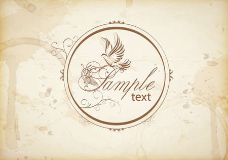 peace symbols: Vintage template with ornamental dove. Symbol of peace. Illustration