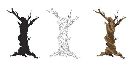 sliced tree: set of dry trees cartoon