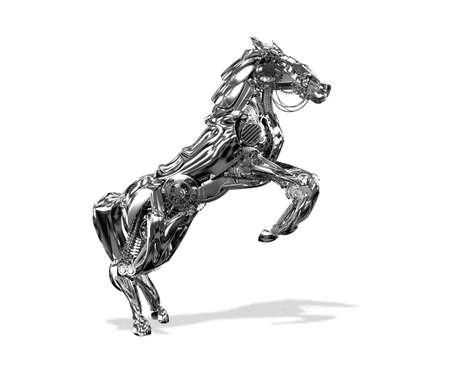 Robot Horse. Illustrazione 3D su uno sfondo bianco Archivio Fotografico