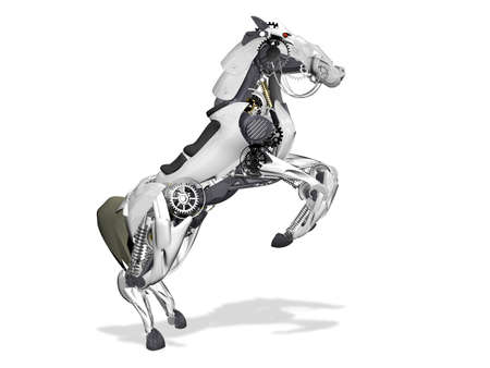 robot toy: Horse robot. 3d illustration on a white background Stock Photo