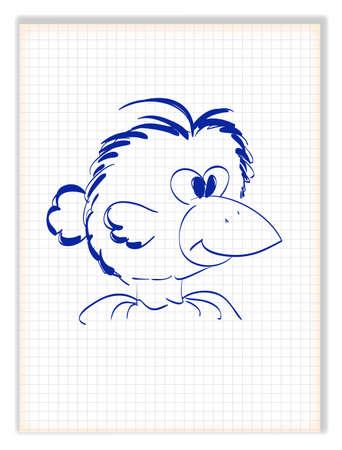 Funny crow with big beak. Bird cartoon character. Vector illustration
