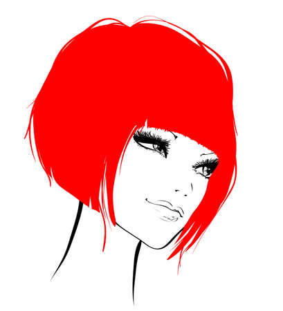 fashion illustration: Vector Sketch. Beauty girl face on a white background