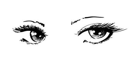 black eyes: beautiful female eyes Illustration