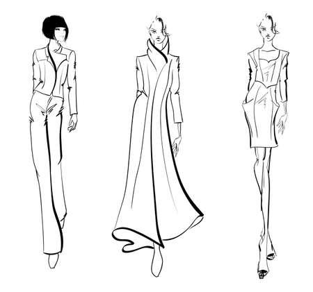 Szkic. dziewczyny mody