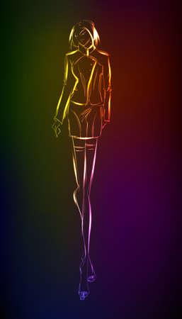 mannequin mode: Hand-drawn fashion model � partir d'un n�on. Une fille de la lumi�re