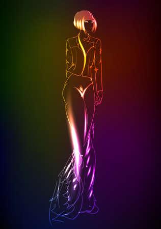 mannequin mode: Mannequin dessin�e � la main � partir d'un n�on. Une fille de la lumi�re