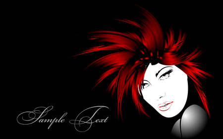 fashion portrait: beauty girl face Illustration