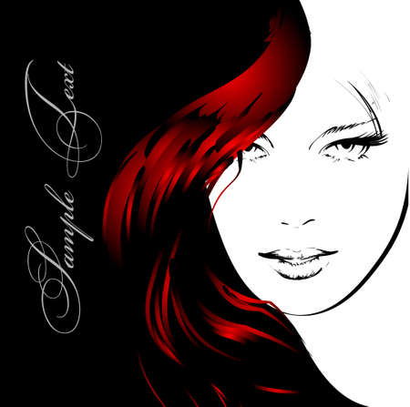 eye drawing: beauty girl face Illustration
