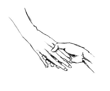 hand sketch holding hands on a white background