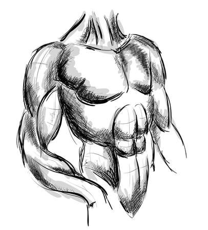 strong chin: Sketch Vector Illustration: bodybuilder. strong muscular man. athlete or fighter