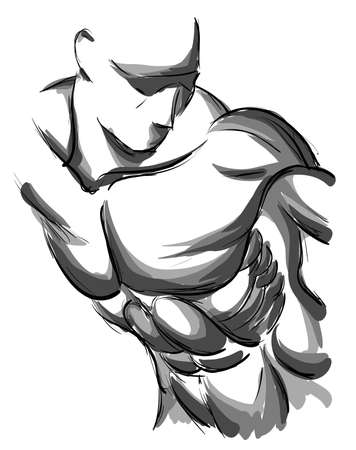 hand on chin: Sketch Vector Illustration: bodybuilder. strong muscular man. athlete or fighter
