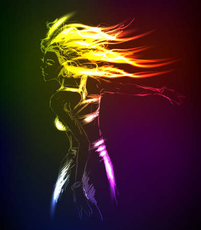 fashionable: Hand-drawn fashion model from a neon. A light girls Illustration