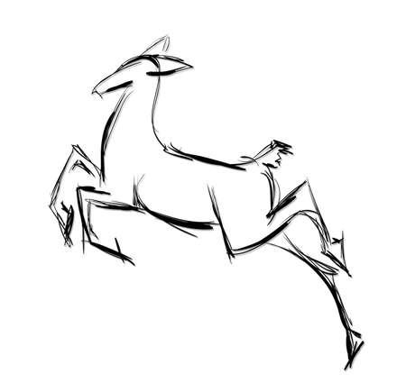 doe: Doe standing. Sketch Vector illustration. Illustration