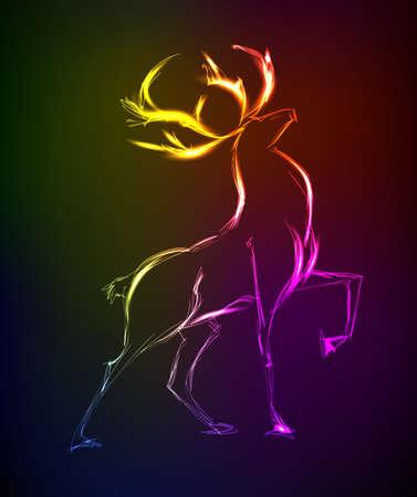 black tail deer: Neon sketch. Doe standing. Vector illustration.