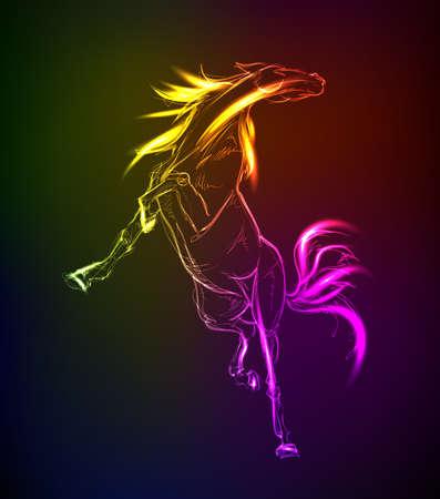 Cavalli. Hand-drawn neon illustrazione