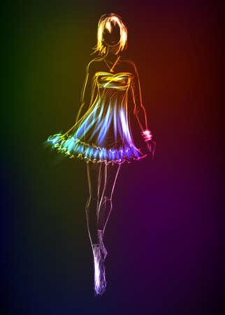 modelos posando: Modelo de moda dibujado a mano de un neón. Una niña de la luz