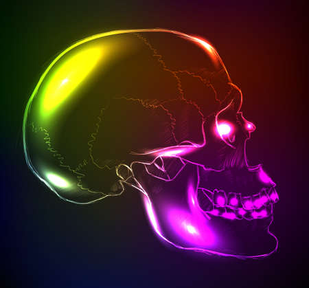 substructure: Neon glowing skull on a dark background.