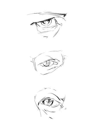 Hand Drawing Old Man S Eyes With Glasses On A White Background