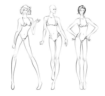 beachwear: Sketch of three women in beach-wear