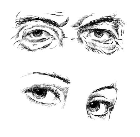 closeup: Hand drawing eyes on a white background. Vector illustration Illustration
