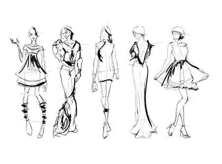 Sketch. Fashion Girls on a white background