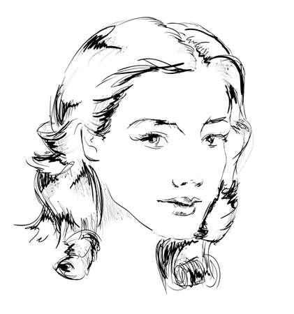 beauty girl face 向量圖像