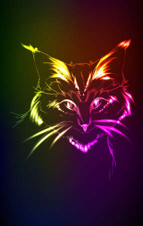 muzzle flash: neon portrait of cat on a dark background Illustration