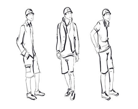 stylish man: Sketch. Handsome stylish man showcasing street fashion