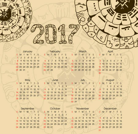 mayan prophecy: Calendar 2017 with maya symbolics