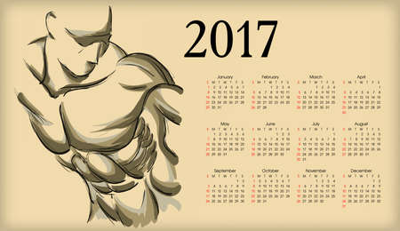 Calendar 2017. Sketch of an athlete