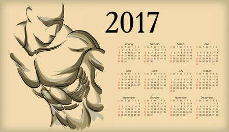 pumped: Calendar 2017. Sketch of an athlete