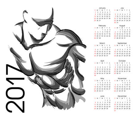 latissimus: Calendar 2017. Sketch of an athlete