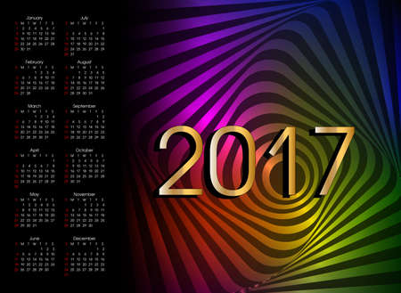 Calendar 2017 of wavy rotation movement. Neon vector art.
