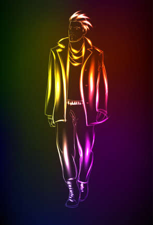 Hand-drawn fashion model from a neon. A light man Illustration