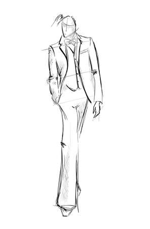 Sketch. Handsome stylish man showcasing street fashion