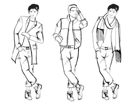 relaxed man: Sketch. Handsome stylish man showcasing street fashion