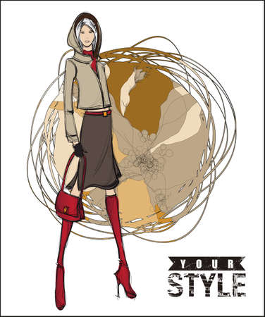 Sketch. Vector illustration of a pretty girl on a abstract background. Fashion illustration. Illustration