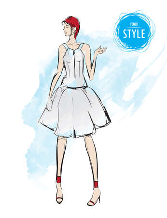 flirting: Sketch. Fashion Girls on a white background