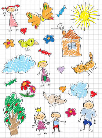 pencil drawings: Vector elements of design stylised under childrens drawing a pencil. Sketches on the theme of home, family and animals Illustration
