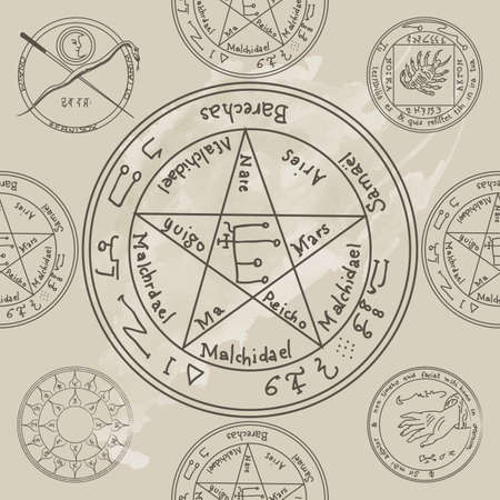 wizardry: Texture with a repetitive pentacle pattern. Occult background. The magic sign.