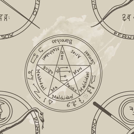 Texture with a repetitive pentacle pattern. Occult background. The magic sign.