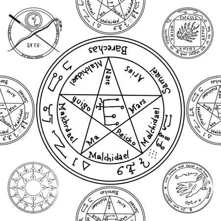 Textur mit einem sich wiederholenden Pentacle-Muster. Okkulter Hintergrund Das Zauberzeichen Standard-Bild - 75349117